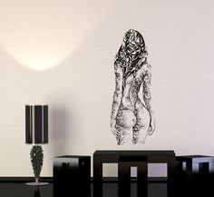 Wall Decal Girl Nature Flowers Plant Life Human Exposure Beauty Vinyl Sticker (ed653)