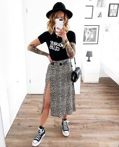 Outfits With Converse, Edgy Outfits, Cute Outfits, Fashion Outfits, Womens Fashion, Fashion Ideas, Fashion Hacks, Fashion Tips, Midi Rock Outfit