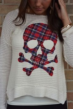 Could patch tartan skulls onto jumpers like this