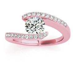 Allurez Diamond Accented Tension Set Engagement Ring 14k Rose Gold... (£683) ❤ liked on Polyvore featuring jewelry, rings, 14 karat gold ring, pave setting ring, 14k ring, pink gold engagement rings and swirl ring