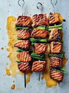 "intensefoodcravings: ""Cold Busting Wasabi Salmon Skewers | Cooked """