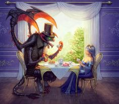 Cho'Gath and Sona having tea from League of Legends :)