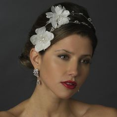 White Floral Crystal Bridal Headpiece from How Divine ~ https://www.howdivine.com.au/store/product/white-floral-crystal-bridal-headpiece