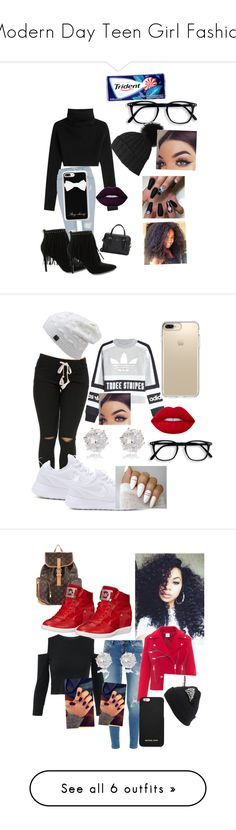 """""""Modern Day Teen Girl Fashion"""" by slytherian4life ❤ liked on Polyvore featuring Valentino, River Island, Black, Pierre Balmain, Casetify, Kate Spade, adidas Originals, NIKE, Lime Crime and Speck"""