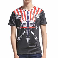 Summer Men Tees Shirt USA America Flag Eagle Printed Short Sleeve T-shirt Male Hipster 3D T Shirt Hip Hop Tops Man Clothing T287  #Hot #Buy #Trend #Discount #New #Sale