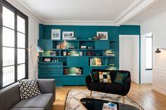 Contemporary Family Room by A&D Vanessa Faivre
