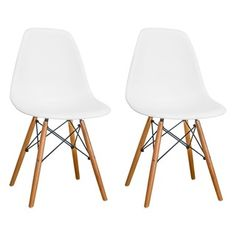 Scandinavian Lifestyle Brighton Faux Leather Oak Wood Dining Chair (Pack of 2)   Overstock.com Shopping - The Best Deals on Dining Chairs