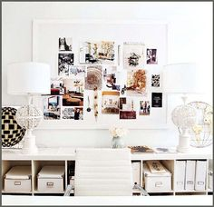 Chic white office design with white walls paint color, Ikea Expedit Bookcase, white framed bulletin board, white vintage lampsand Ikea Kassett boxes and magazine holders. Office Organization Tips, Office Storage, Organizing, Storage Boxes, Office Shelving, Ikea Storage, Storage Compartments, Storage Containers, Storage Ideas