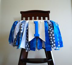 Little Man High Chair Rag Tie Fabric Bunting 1st Birthday Banner Blue Grey Boy Cake Smash Picture Prop I am 1 Garland First Year Photo Shoot by AudrianaPaper on Etsy