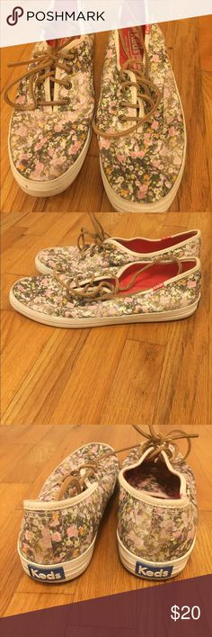 Madewell Floral Keds Worn very few times. Leather laces. Madewell Keds keds Shoes Sneakers