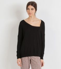 Asymmetrical Neckline Sweater by Maje