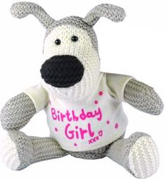 Our Boofle Birthday Girl Teddy Bear will make a popular birthday keepsake. The knitted dog wears a white t-shirt with the greeting Birthday Girl in pink. Order your Boofle gifts online for fast UK delivery.