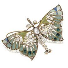 Gold, Diamond, Pearl and Plique-à-Jour Enamel Butterfly Pendant-Brooch, Vever, Paris, Circa 1900
