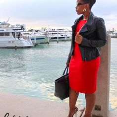 Black Faux Leather Jacket and Red Calvin Klein Sheath Dress