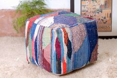 """Pouf Moroccan Ottoman Kilim Floor, 20""""x20""""x116"""", refashioned from a vintage Berber rug, hand woven in Morocco's High Atlas Mountains.(PK223)"""