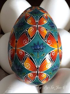 Butterflies II Ukrainian Easter Egg Pysanky By So Jeo