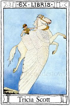 Pegasus in Flight Bookplates Personalized or Blank by theoddestowl