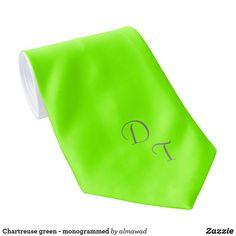 Chartreuse green - monogrammed neck tie