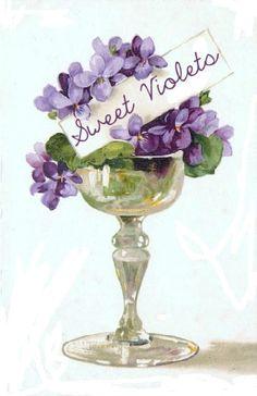 Vintage Digital Image Violets Tag