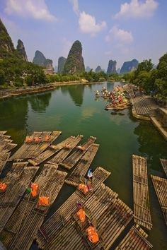 River Taxis, Li River, Guilin, Guangxi, China