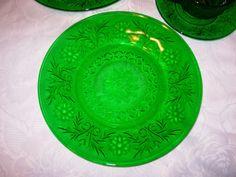 "Anchor Hocking Depression Glass - Forest Green Sandwich - 4 Dinner Plates - 9"" | eBay"