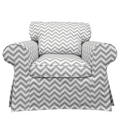 Chevron slipcover for an Ikea chair - genius!   Custom IKEA Ektorp Armchair slipcover in Gray by FreshKnesting, $205.00
