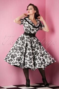 Fühle dich wie eine klassische Schönheit in diesem 50s Honor Floral Swing  Dress!Wow, ecaf084d04