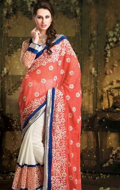 Picture of Premium off White and Tomato Color Party Wear Saree Online
