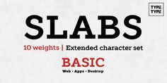 TT Slabs is a geometric slab serif published by TypeType that is suitable for any kind of project, from books, magazines, posters, headline to display, headline, web applications