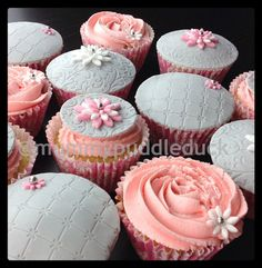 Pretty pink and grey cupcakes