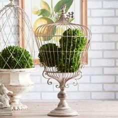 Decorative Distressed Pedestal Bird Cage