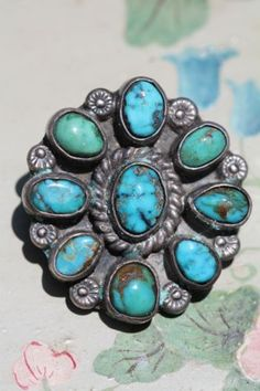 Vintage Navajo Hand Made Sterling Silver Natural Turquoise Concho Brooch Pin | eBay