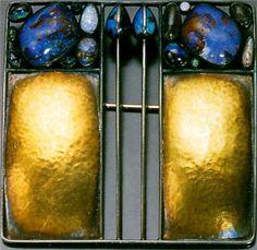 Josef Hoffmann (1870-1956), Wiener Werkstätte, Brooch, Silver, Gold and Semi Precious Stones.