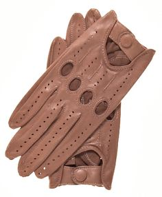 Women's Open Back Leather Driving Gloves