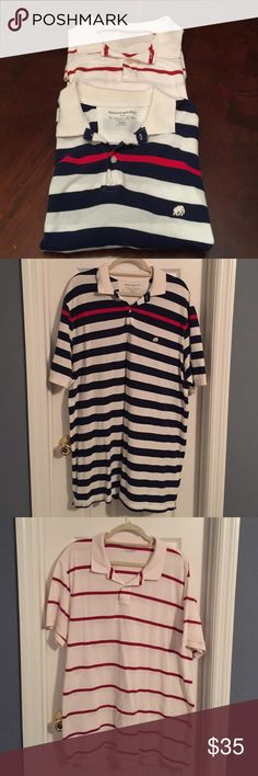 Set of Two Men's Polo Shirts XXL Set of two men's polo shirts size XXL.  Navy stripe shirt is Banana Republic and red stripe shirt is from J Crew. Both are XXL size and both are in great condition. Banana Republic Shirts Polos