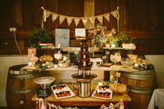 Chocolate Fountain dessert buffet in lieu of wedding cake. Image: Cavanagh Photography http://cavanaghphotography.com.au