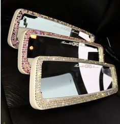 Unique Girl Gift Rhinestone Bling Car Accessories For Women Rear View Mirror Purple Pink Clean Crystal Stones Made To Order Custom Color