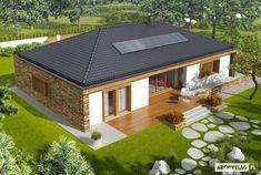 Projekt domu AC EX 8 (wersja B) soft CE - DOM - gotowy koszt budowy House Outside Design, Simple House Design, Dream Home Design, Small Modern House Plans, Beautiful House Plans, Village House Design, Village Houses, Bungalow Style House, Morden House