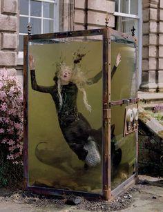 Kristen McMenamy as a Mermaid in 'Far Far From Land' by Tim Walker for W Magazine, December 2013.