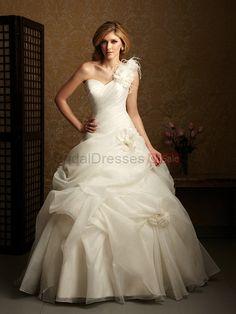 Ball Gown White/Ivory One Shoulder Organza Chapel Train Wedding Dress online,The Cheap one shoulder wedding dresses is custom made at big discount price! 1