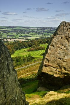 A view of West Yorkshire from the Cow and Calf Rocks at Ilkley Moor, England