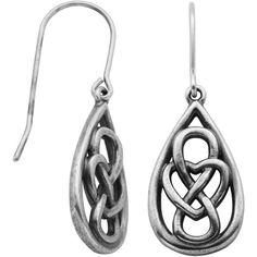 Sterling Silver Celtic Knot Teardrop Earrings (One Size) - Womens >... ($40) ❤ liked on Polyvore featuring jewelry, earrings, sterling silver earrings, teardrop shaped earrings, drop earrings, teardrop earrings and sterling silver jewelry