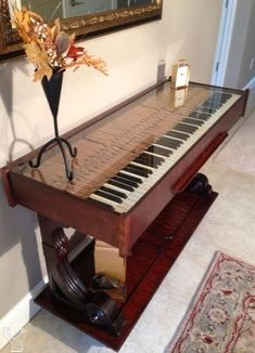 Weber upright repurposed piano I acquired and turned into a beautiful hall table. piano room and piano bar diy home deocor Piano Table, Piano Desk, Piano Art, Piano Room, Refurbished Furniture, Repurposed Furniture, Furniture Makeover, Painted Furniture, Repurposed Wood