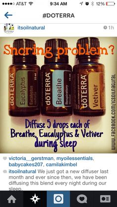 Snoring Diffuser Blend #doterra #essentialoils Breathe, Eucalyptus, Vetiver