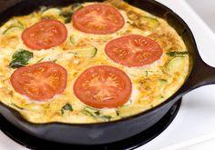 tomato, goat cheese, and zucchini frittata