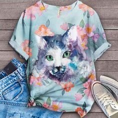 Cat Shirt Bird Shirt, Cat Shirts, Tie Dye, Tees, Women, Fashion, Moda, T Shirts, Women's