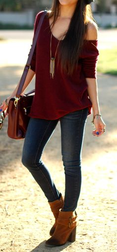 Fall outfit: jeans and maroon shirt, i would replace this bag with a chic black tote and black booties instead of these clunky brown shoes, change the accessories and lose the hat.