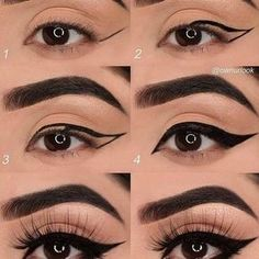 Tuto eye-liner How to draw your line of eyeliner? Quick and easy tips for achi. - Tuto eye-liner How to draw your line of eyeliner? Quick and easy tips for achieving a perfect str - Almond Eye Makeup, Eyeliner For Almond Eyes, Easy Eyeliner, Eyeliner Hacks, Eyeliner Tutorial, Trait Eye Liner, Zombie Make Up, Khol Eyeliner, Eyeliner Pencil