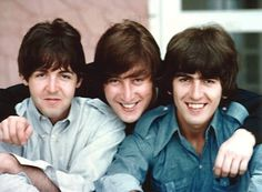 Top: John, Paul, and George on the set of Help!, Nassau Beach Hotel, New Providence Island, Bahamas, photographed by Henry Grossman. Above: John sets about combing Henry Grossman's hair into a Beatles coiffure, photographed by Ringo Starr. (February, 1965)