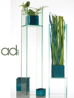 PLAZA 	Oversized plate glass vases  Designed by Hitomi Gilliam  Products by Accent Decor